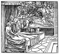 0098626 © Granger - Historical Picture ArchivePHYSICIAN AND PATIENT, 1531.   A physician ministereing to a patient. Woodcut, 1531, by Hans Weiditz.