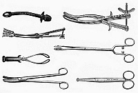 0116774 © Granger - Historical Picture ArchiveOBSTETRICAL INSTRUMENTS.   Various gynecological and obstetrical instruments. Wood engravings, late 19th century.