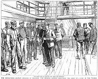 0002229 © Granger - Historical Picture ArchiveCHOLERA INSPECTION, 1892.   The British Medical Officer inspecting a ship's crew docked in the Thames River in an effort to prevent the threatened invasion of the cholera epidemic of 1892. Wood engraving English, 1892.