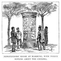 0002475 © Granger - Historical Picture ArchiveCHOLERA EPIDEMIC, 1892.   Newspaper vendor's kiosk at Hamburg, Germany, with police news about the cholera epidemic. Line engraving from a contemporary English newspaper.