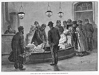 0002585 © Granger - Historical Picture ArchiveHAMBURG: CHOLERA, 1892.   Customs officers removing clothing to be disinfected from the baggage of passengers arriving at Hamburg's railway station during the European epidemic of 1892. Illustration from a contemporary English newspaper.