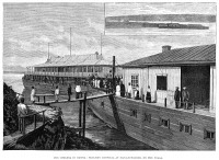 0004419 © Granger - Historical Picture ArchiveCHOLERA IN RUSSIA, 1892.   A floating hospital on the Volga in Nijni-Novgorod. Wood engraving, English, 1892.