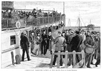 0004424 © Granger - Historical Picture ArchiveCHOLERA QUARANTINE, 1892.   Passengers from the cholera-stricken liner, S.S. 'Normannia,' entering quarantine at Fire Island, New York. Wood engraving, American, 1892.