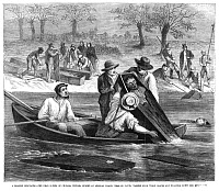 0013072 © Granger - Historical Picture ArchiveMISSOURI: CHOLERA DEATHS.   Bodies of cholera victims washed down the Mississippi River near St. Louis. Wood engraving from an American newspaper of 1868.