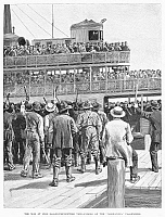 0089161 © Granger - Historical Picture ArchiveCHOLERA PANIC, 1892.   In May 1892 passengers from the German steamer 'Normannia,' arriving at Fire Island for quarantine, are met by protesters from Long Island. Line engraving from a contemporary American newspaper.