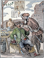 0065702 © Granger - Historical Picture ArchiveAMMAN: DENTIST, 1568.   'The Tooth Breaker removes aching teeth painlessly as one bears children; he also sells oils, salves and other medications, flea and louse ointments and rat poison.' Woodcut by Jost Amman, 1568.