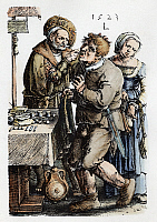 0165773 © Granger - Historical Picture ArchiveVAN LEYDEN: DENTIST.   The dentist-surgeon with a patient. Line engraving by Lucas Van Leyden, 1523.