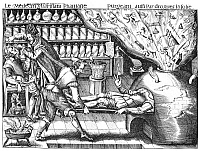 0006797 © Granger - Historical Picture ArchiveBROADSHEET, 17th CENTURY.   'The Physician Curing Fantasy.' Anonymous engraved French broadsheet of the 17th century, an amusing travesty on the idea that wisdom can be imbibed and crotchets or vagaries can be eliminated by physical means.