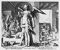 0042667 © Granger - Historical Picture ArchivePHYSICIAN AS ANGEL.   Allegory of the Physician as an Angel. Copper engraving, 1587, by the studio of Hendrik Goltzius (1558-1617).