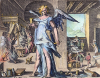 0042668 © Granger - Historical Picture ArchivePHYSICIAN AS ANGEL.   Allegory of the Physician as an Angel. Copper engraving, 1587, by the studio of Hendrik Goltzius (1558-1617).