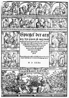 0042882 © Granger - Historical Picture ArchivePHYSICIANS, 1532.   The title page of Laurentius Friesen's 'Spiegel der Artzney,' with portraits of ancient and medieval physicians and (bottom) a representation of Venus and Adonis in a garden. Woodcut, Strassburg, 1532, after Hans Weiditz.