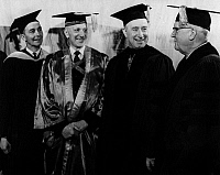 0173309 © Granger - Historical Picture ArchiveWILDER G. PENFIELD (1891-1976).   American-born Canadian neurosurgeon. Photographed after receiving an honorary degree from the University of Wisconsin in Madison on 16 June 1958. With E.B. Fred, Wilbur Renk, and Vernon W. Thomson.