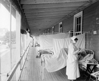 0325765 © Granger - Historical Picture ArchiveFLU WARD, c1918.   The flu ward at the Walter Reed Hospital in Washington D.C. Photograph, c1918.