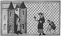 0000530 © Granger - Historical Picture ArchiveLEPER HOUSE, c1220-1244.   A leper house. Wood engraving after an illumination from Vincent of Beauvais' 'Speculum Historiale', c1220-1244.