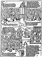0000553 © Granger - Historical Picture ArchiveLEPERS, 1493.   'Leper's Banquet at Nuremberg.' A German popular woodcut, 1493, reflecting the conditions of lepers, who were allowed to enter the city only on certain holidays, when they attended Mass, said Confession, took Communion, and feasted before returning to everyday isolation.