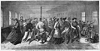 0175721 © Granger - Historical Picture ArchiveINSANE ASYLUM: DANCE.   Dance of patients of the Lunatic Asylum on Blackwell's Island in New York City, in celebration of the completion of a new building, 6 November 1865. Contemporary American wood engraving, after a drawing by W. H. Davenport.