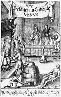 0000801 © Granger - Historical Picture ArchiveSYPHILIS, 1689.   Fumigating a ward of syphilis patients with mercury vapors. Title page of a German medical pamphlet, Leipzig, Germany, 1689.