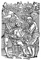 0002967 © Granger - Historical Picture ArchiveBATTLEFIELD SURGEON, 1540.   A surgeon removing an arrow from a wounded soldier. Woodcut from an edition of Hans von Gersdoff's 'Feldtbuch der Wundartzney (Guide to Surgery),' Strassburg, Germany, 1540.