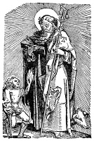 0003819 © Granger - Historical Picture ArchiveERGOTISM, 1540.   A victim of ergotism (St. Anthony's Fire) appealing to St. Anthony for aid. Woodcut from an edition of Hans von Gersdorff's 'Feldtbuch der Wundartzney,' Strassburg, 1540.