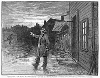 0089145 © Granger - Historical Picture ArchiveTYPHOID FEVER, 1885.   A guard at Plymouth, Pennsylvania, warning passers-by from approaching homes of people stricken with typhoid fever. Wood engraving from a contemporaray American newspaper.