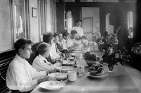 0109916 © Granger - Historical Picture ArchiveTUBERCULOSIS PATIENTS, 1909.   Tuberculosis patients dining on a ferryboat used as a sanitarium in New York City. Photograph, 17 July 1909.