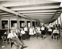 0173288 © Granger - Historical Picture ArchiveTUBERCULOSIS FERRY, c1900.   Tuberculosis patients on the deck of a ferry in the Hudson River, New York. Photographed by the Brown Brothers, c1900.