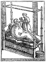 0173303 © Granger - Historical Picture ArchivePATIENT AND NURSE, 1646.   A patient in a balloon-like bag designed to reduce fevers. Woodcut, 1646.