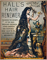 0007541 © Granger - Historical Picture ArchiveHAIR RESTORATIVE.   Late 19th century American patent medicine poster for Hall's Hair Renewer.