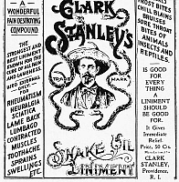 0011899 © Granger - Historical Picture ArchivePATENT MEDICINE AD, c1895.   American advertisement for Clark Stanley's 'Snake Oil Liniment,' c1895.