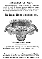 0030557 © Granger - Historical Picture ArchivePATENT MEDICINE PAMPHLET.   Page from a 19th century American pamphlet advertising the German Electric Suspensory Belt as a cure for 'nervous debility' and 'loss of vigor,' discreet terms for impotence.