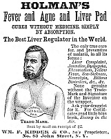 0079412 © Granger - Historical Picture ArchiveLIVER PAD ADVERTISEMENT.   American patent medicine advertisement, 1876, for Holman's 'Fever and Ague Liver Pad.'