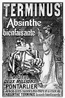 0117992 © Granger - Historical Picture ArchiveABSINTHE POSTER, 1892.   French lithograph poster by Tamagno, 1892, for Terminus, the healthy absinthe. Tamagno used, without permission, the likenesses of the actors Constant Coquelin and Sarah Bernhardt,and the posters had to be taken down.