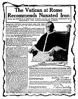 0173283 © Granger - Historical Picture ArchivePATENT MEDICINE AD, C1920.   American advertisement for nuxated iron, with an endorsement from Pope Benedict XV, c1920.