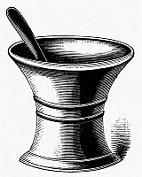 0001429 © Granger - Historical Picture ArchiveMORTAR AND PESTLE.   American typefounder's cut, 19th century.