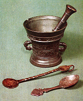 0001576 © Granger - Historical Picture ArchiveMORTAR AND PESTLE.   Dutch mortar, pestle, and powder spoons. Bronze, 17th century.