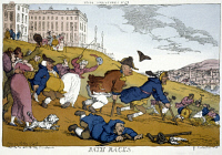 0023537 © Granger - Historical Picture ArchiveROWLANDSON CARTOON, 1810.   Bath Races: caricature etching, 1810, by Thomas Rowlandson.