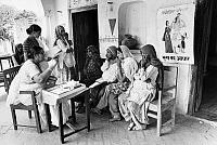 0125862 © Granger - Historical Picture ArchiveINDIA: FAMILY PLANNING.   A family planner lectures women on the use of contraceptive devices in a village near New Delhi, India, 1968.