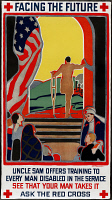 0162726 © Granger - Historical Picture ArchiveRED CROSS POSTER, 1919.   Poster advertising Red Cross training for disabled World War I veterans. Lithograph by C.F. Chambers, 1919.