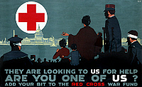 0162727 © Granger - Historical Picture ArchiveRED CROSS POSTER, 1917.   Europeans and war veterans face a cityscape of American landmarks and the American Red Cross symbol on a poster for the Red Cross War Fund during World War I. Lithograph by L.N. Britton, 1917.