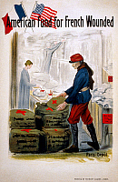 0162733 © Granger - Historical Picture ArchiveRED CROSS POSTER, c1917.   A French soldier picking up medical supplies from the Red Cross in a poster for the American Fund for French Wounded. Lithograph by Herbert Clarke, c1917.
