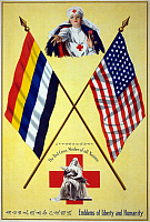0162734 © Granger - Historical Picture ArchiveRED CROSS POSTER, c1917.   Poster for the American Red Cross with nurses between the flags of China and America. Lithograph, c1917.