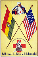 0162735 © Granger - Historical Picture ArchiveRED CROSS POSTER, c1917.   Poster for the American Red Cross with nurses between the flags of America and Bolivia. Lithograph, c1917.