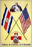 0162739 © Granger - Historical Picture ArchiveRED CROSS POSTER, c1917.   Poster for the American Red Cross with nurses between the flags of America and Costa Rica. Lithograph, c1917.