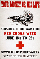 0162742 © Granger - Historical Picture ArchiveRED CROSS POSTER, c1917.   A Red Cross nurse offers a wounded soldier water, on a fundraising poster for the American Red Cross during World War I, c1917.