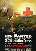 0162744 © Granger - Historical Picture ArchiveRED CROSS POSTER, 1918.   American Red Cross poster recruiting men as drivers and mechanics overseas during World War I. Chromo lithograph, 1918.