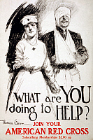 0162745 © Granger - Historical Picture ArchiveRED CROSS POSTER, 1919.   American Red Cross recruiting poster during World War I. Lithograph by Gordon Grant, c1919.