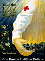 0162749 © Granger - Historical Picture ArchiveRED CROSS POSTER, 1918.   American Red Cross fundraising poster promoting war funds. Lithograph, 1918.