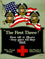 0162769 © Granger - Historical Picture ArchiveRED CROSS POSTER, 1917.   American Red Cross fundraising poster with three portraits of the first soldiers killed during World War I: Merle David Hay, Thomas Enright and James Bethel Gresham. Lithograph, 1917.