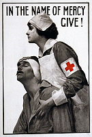 0162771 © Granger - Historical Picture ArchiveRED CROSS POSTER, 1917.   American Red Cross fundraising poster with a Red Cross nurse tending to a wounded soldier. Lithograph by Albert Herter, 1917.