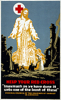 0162776 © Granger - Historical Picture ArchiveRED CROSS POSTER, 1917.   Poster for the American Red Cross and Federal Council of the Churches of Christ in America, with Jesus Christ, a Red Cross and a cathedral over a battlefield scene with a Red Cross nurse. Lithograph by Hubert Chapin, 1917.